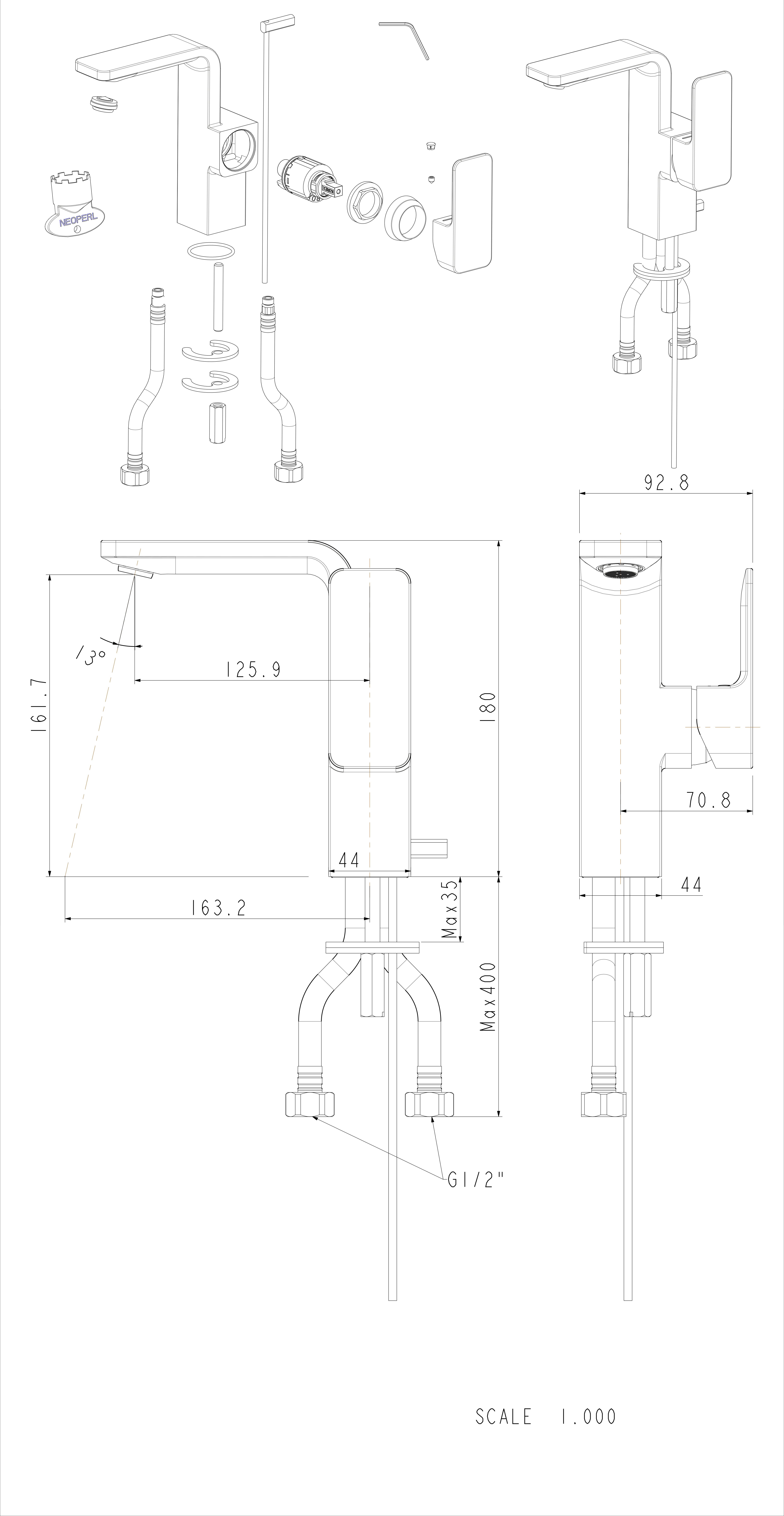 acacia-e-single-side-basin-mixer-specs